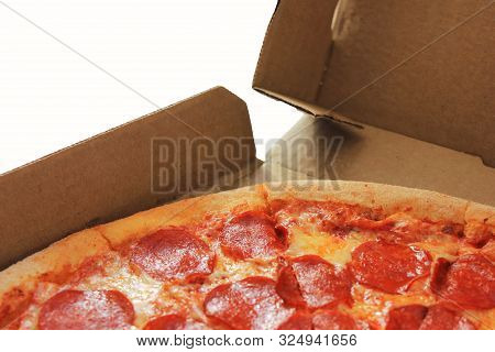 Pizza Box With Pepperoni Pizza. Open Delivery Paper Box With Fresh Hot Pizza Isolated On White Backg
