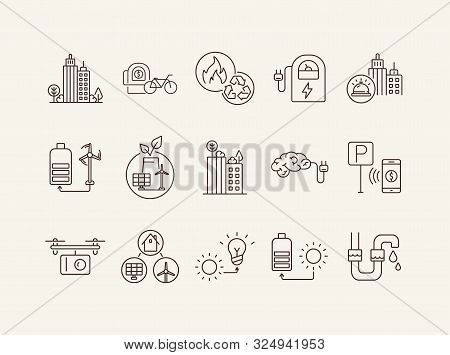 Ecological Energy Source Icons. Set Of Line Icons. City Alarm, Recycling, Quadcopter With Box. Alter