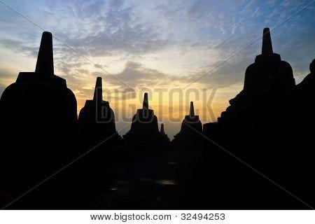 Borobudur Temple At Sunrise