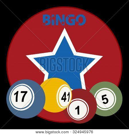 Red Circular Border With Vintage Star Bingo Lottery Balls And Decorative Bingo Text Over Black Backg