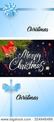 Merry Christmas Banner Set With Bells, Bows On Blue Ground. Calligraphy With Decorative Design Can B