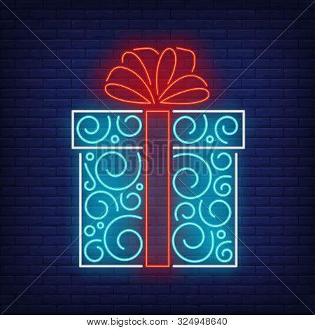 Gift Box Neon Sign. Present, Carton Wrap, Tag, Ribbon, Bow, Ornament. Vector Illustration In Neon St
