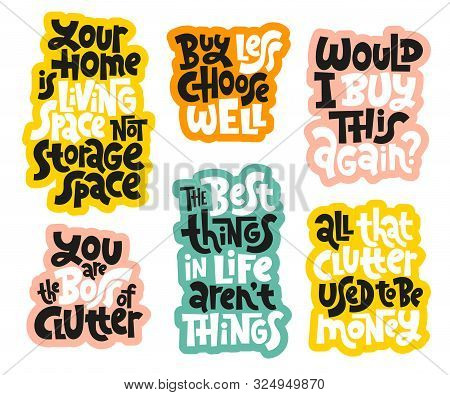 Sticker Set Template With Hand Drawn Vector Lettering About Reasonable Consumption, Buying Unnecessa