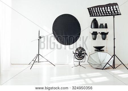 Photo Studio Accessories Photographer Flashes White Background