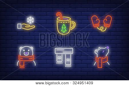 Winter Neon Sign Set With Polar Bear In Scarf, Christmas Drink, Mittens, Snowflake In Hand. Vector I
