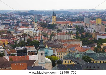 City Nitra, Slovakia. View From Above With The Town Hall On The Old City And Colorful Roofs. Tourist