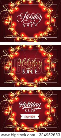 Holiday Sale Banner Set With Garlands On Vinous Ground. Calligraphy With Decorative Design Can Be Us