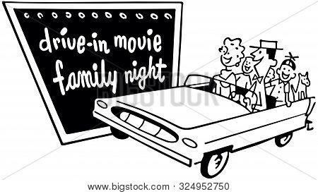 Drive-in Movie Family Night - Retro Clip Art Illustration