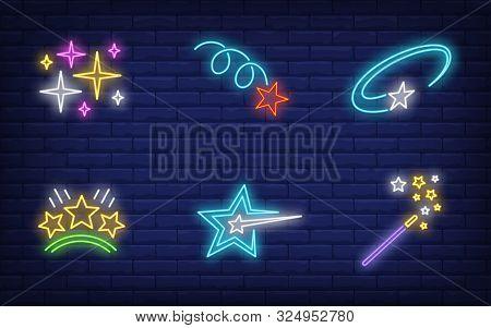 Christmas Stars Neon Sign Set. Magic Wand, Motion, Miracle. Vector Illustration In Neon Style, Brigh