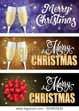 Merry Christmas Banner Set With Champagne Glasses And Stars. Calligraphy With Decorative Design Can