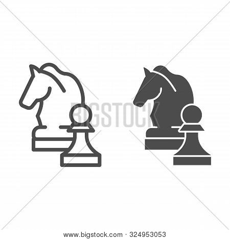 Chess Knight Line And Glyph Icon. Chess Horse Vector Illustration Isolated On White. Equine Outline