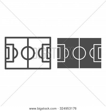 Football Field Line And Glyph Icon. Pitch Vector Illustration Isolated On White. Stadium Outline Sty