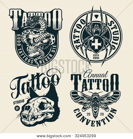 Vintage Monochrome Tattoo Studio Labels With Snake Entwined With Skull Cross Spider Spooky Cat Skull