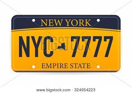 Vehicle Registration Of New York Registration Plates Nummer Car. Vector Illustration.