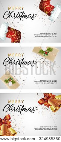 Merry Christmas Banner Set With Socks, Gifts And Bells. Calligraphy With Decorative Design Can Be Us