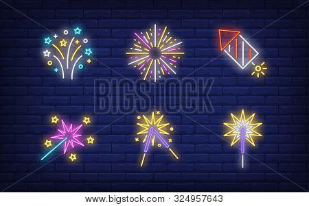 Festive Firework Neon Sign Set. Cracker, Petard, Explosion, Sparkler. Vector Illustration In Neon St