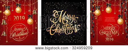 Merry Christmas Banner Set With Black Ribbons And Gold Baubles. Calligraphy With Decorative Design C