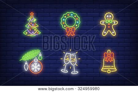 New Year Party Neon Sign Set. Tree, Bauble, Champagne Flutes, Wreath. Vector Illustration In Neon St