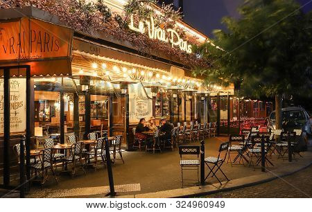 Paris, France-september 29 ,2019 : The Cafe Le Vrai Paris. It Is A Traditional French Cafe In The Mo