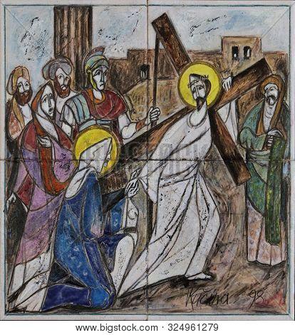 ZAGREB, CROATIA, SEPTEMBER 14, 2019: 4th Stations of the Cross, Jesus meets His Mother, Church of Saint Matthew in Dugave, Zagreb, Croatia