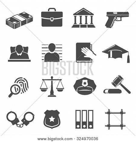 Justice And Law Vector Glyph Icons Set
