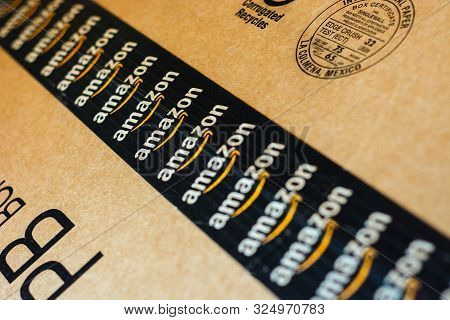 Monterrey, Mexico - Sept 3,0 2019: Amazon Standard Shipping Box. Amazon Logotype Printed On Cardboar