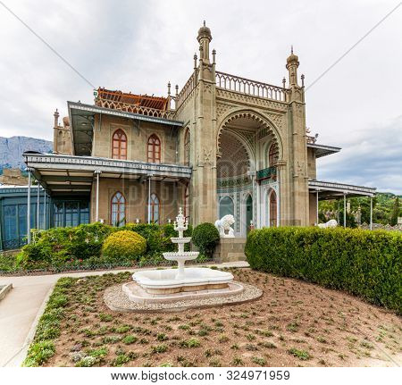 Alupka, Crimea - July 12, 2019: Vorontsov Palace in Crimea, Russia. Vorontsov Palace is one of the most beautiful sights on Crimea peninsula. Historical architecture