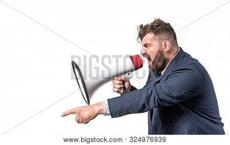 Angry funny guy with megaphone