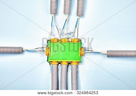 Electrical Junction Box In The Process Of Installation. Electrical Conduits Terminate At The Sides A