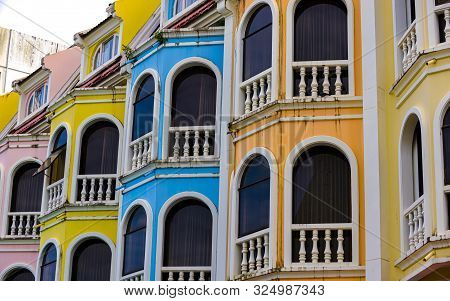 Colourful Sino Portuguese Architecture In Old Town Phuket Thailand