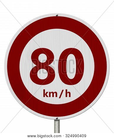 Red And White 80 Km Speed Limit European Style Sign Isolated Over White 3d Illustration