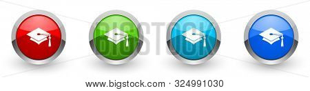 Education silver metallic glossy icons, set of modern design graduation buttons for web, internet and mobile applications in four colors options isolated on white background