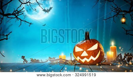 Spooky halloween pumpkin in forest. Scary halloween background with free space for text.