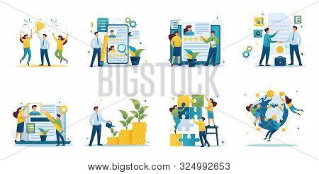 Set Of Mini Business Concepts Of Entrepreneurs. Concepts For Web Design.