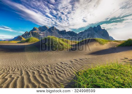 Fantastic Sunny Day And Gorgeous Black Sand Dunes On Stokksnes Cape In Iceland. Location: Stokksnes