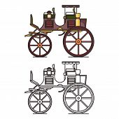 XIX century vehicle or retro carriage, buggy poster