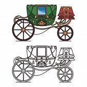 Retro buggy for wedding or vintage royal chariot poster