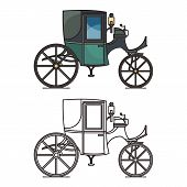 Closed XIX century automobile or electric coupe, poster