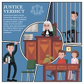 Flat judicial session participants concept with lawyer jury judge and defendant sitting behind bars vector illustration poster
