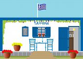 A Traditional Greek Taverna with Table Chairs Flowers surrounded by Grapevine poster