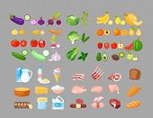 Food cartoon vector illustrations set. Fruits, vegetables, bakery, dairy and meat produce. Foodstuff isolated cliparts pack. Good nutrition concept. Grocery store, supermarket assortment. poster