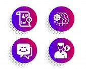 Employees teamwork, Smile face and Report icons simple set. Halftone dots button. Valet servant sign. Collaboration, Chat, Work statistics. Parking man. People set. Vector poster