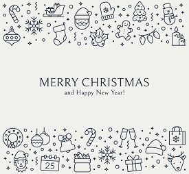 Christmas Greeting Card With Outline Icons. Merry Christmas And Happy New Year! Vector Background Wi