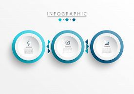 Vector Infographic Label Design Template With Icons And 3 Options Or Steps. Can Be Used For Process