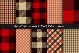 Set Of 10 Lumberjack Plaid Pattern. Lumberjack Plaid And Buffalo Check Patterns. Lumberjack Plaid Ta