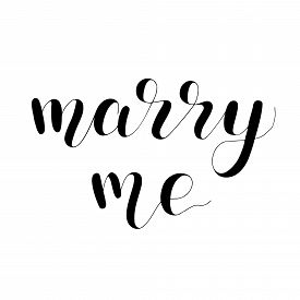 Marry Me, Handwritten Quote. Hand Drawn Romantic Ink Lettering Illustration.
