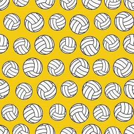 Yellow Seamless Pattern With Volleyballs. Volleyballs Seamless Pattern