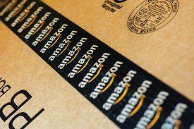 Monterrey, Mexico - Sept 3,0 2019: Amazon Standard Shipping Box. Amazon Logotype Printed On Cardboar