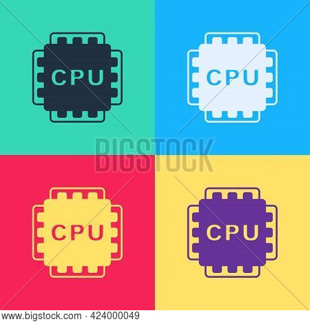 Pop Art Computer Processor With Microcircuits Cpu Icon Isolated On Color Background. Chip Or Cpu Wit