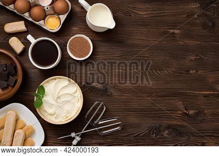 Product For Preparing Tiramisu Dessert. Top View Of Ingredients On Wooden Dark Brown Board. Free Spa